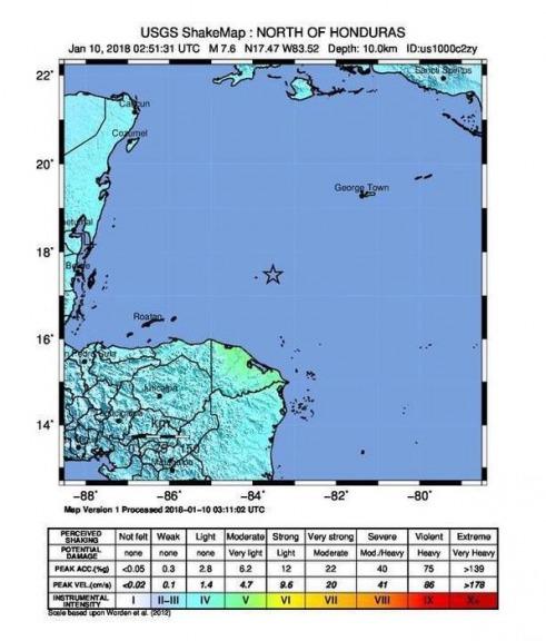 Honduras, sisma di magnitudo 7.6 in mare: allarme tzunami