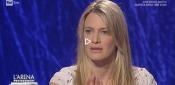 """Elena Majoni durante la trasmissione """"L'Arena"""""""