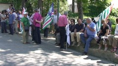 La protesta dei lavoratori Cotir e Ara