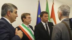 Il presidente del Consiglio, Matteo Renzi - firma del Masterplan Abruzzo all'Aquila