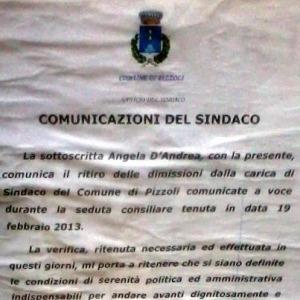 Pizzoli, il sindaco D'Andrea ritira le dimissioni