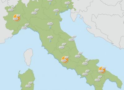Instabilità meteo sulla penisola, piogge e temperature in leggero aumento