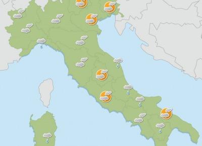 Settimana di tempo perturbato, con precipitazioni diffuse temperature in calo