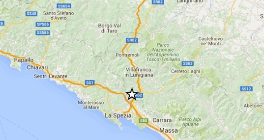 Terremoto pochi minuti fa a La Spezia si è registrata una scossa di magnitudo 4.0