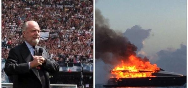 yacht di De Laurentis in fiamme a Napoli