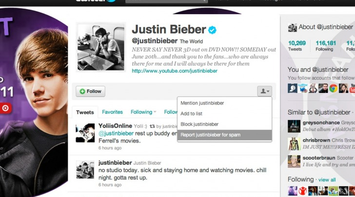 Twitter Justin Bieber