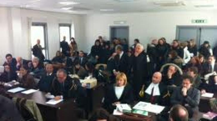 Gli avvocati durante il dibattimento del Processo Grandi Rischi