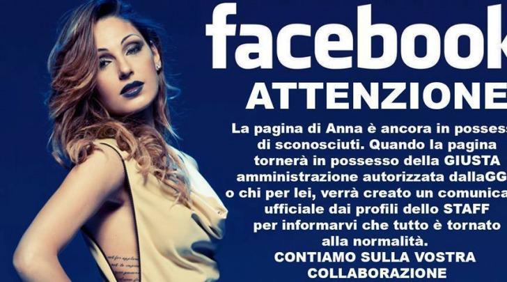 Hackerata pagina Facebook Anna Tatangelo