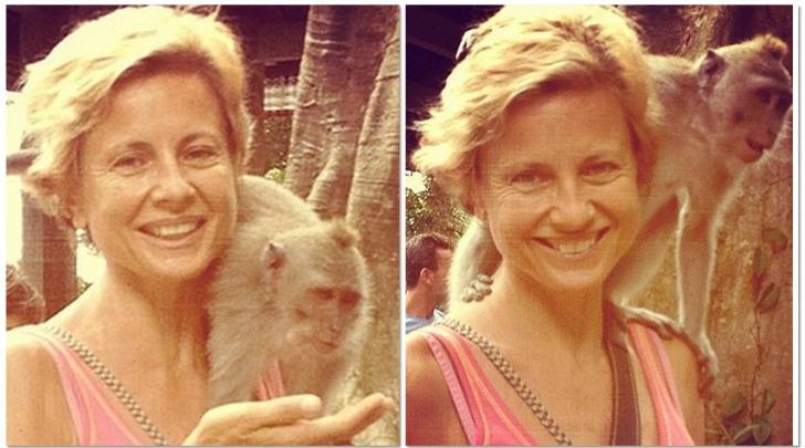 Antonella Elia con la scimmietta