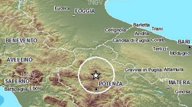 Mappa sismica Appennino Lucano