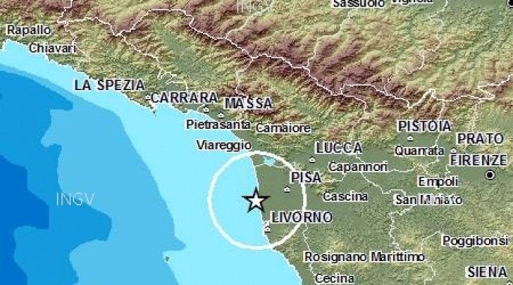 mappa scossa sismica Toscana