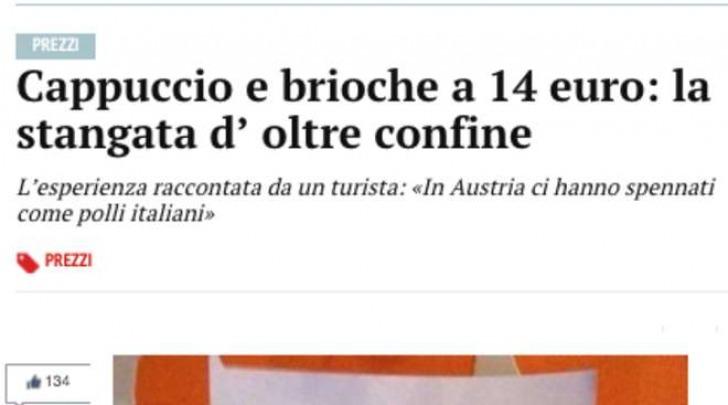 Scontrino Cornetto e Cappuccino