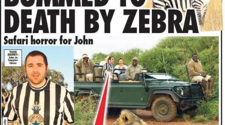 Ucciso da una zebra (Sunday Sport)