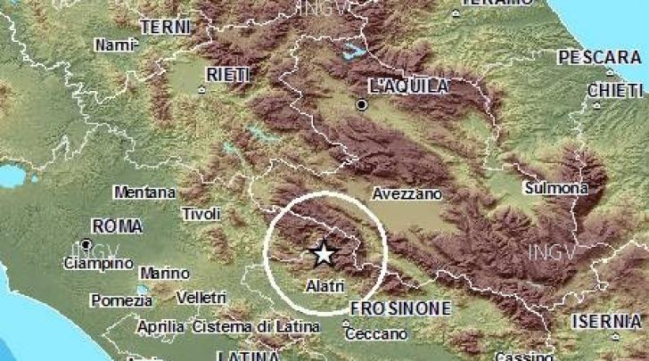 mappa scossa sismica