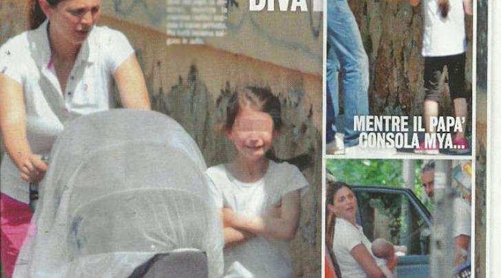 Flavio Montrucchio e Alessia Mancini con i due figli a Roma (Diva e donna)