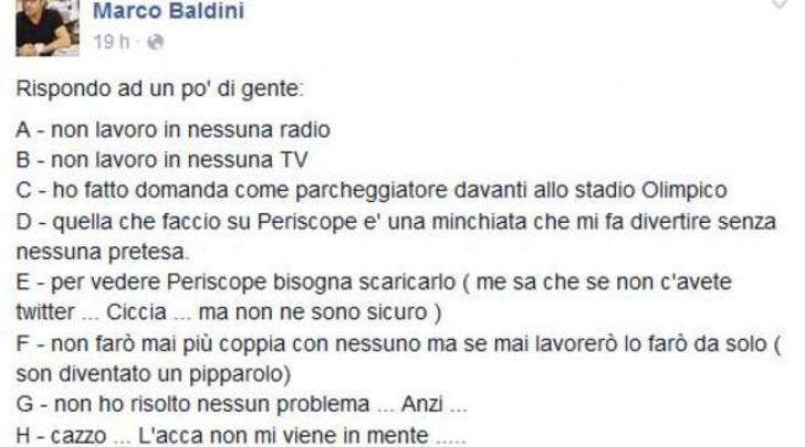 Il post di Marco Baldini su Fb