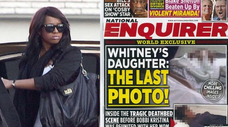 La foto di Bobbi Kristina sul letto di morte in copertina sul National Enquirer