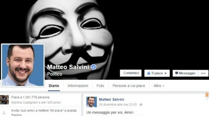Anonymous attacca Fb Salvini
