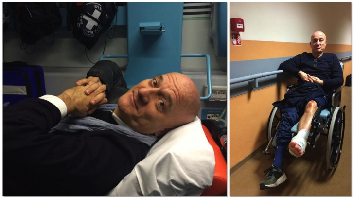 Claudio Bisio, incidente in moto