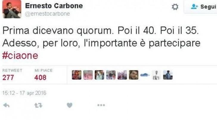 """IlTweet di Carbone sul fallimento del Quorum nel Referendum sulle """"Trivelle"""""""