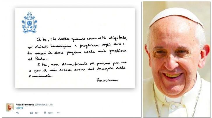 Chirografo pubblicato dal Papa su Instagram e Twitter