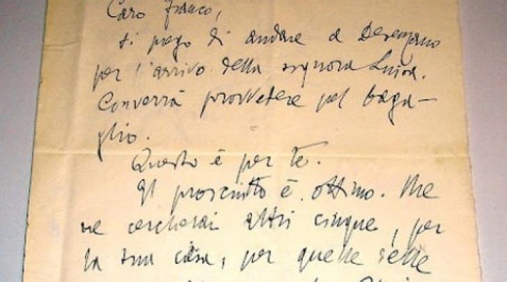 Una delle lettere ritrovate di Gabriele D'Annunzio