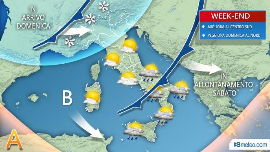 Le previsioni del meteo per sabato 15 dicembre