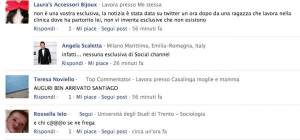 #Santiago i commenti su social chanel