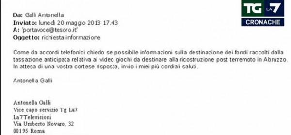 La foto della mail inviata al Tesoro
