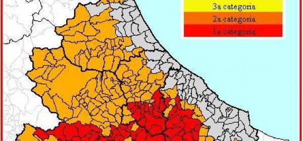 La mappa del rischio sismico in abruzzo