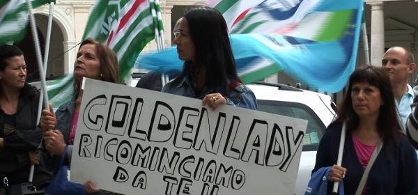 protesta lavoratori ex Golden Lady