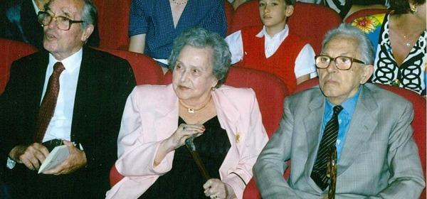 Dall'Archivio Società Barattelli, foto storica (1993): Vlad, Flora Carloni, Petrassi