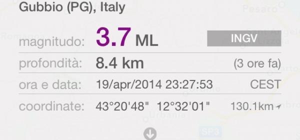 Sciame sismico Gubbio