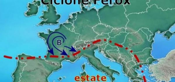Cartina meteo ciclone Ferox