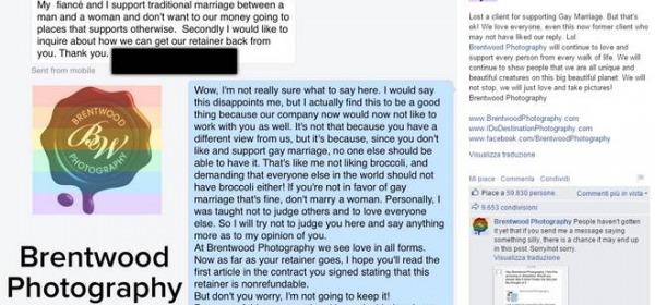 La risposta del fotografo al cliente contrario ai matrimoni gay