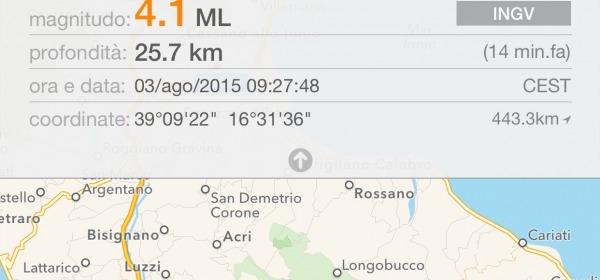 Terremoto Cosenza