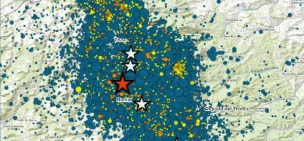 INGV: mappa sequenza sismica Italia Centrale dal 24 agosto