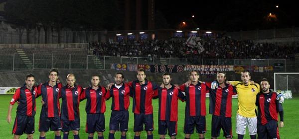 L'Aquila Calcio prima del fischio di inizio della partita
