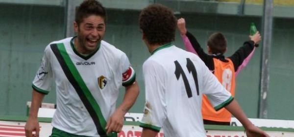 Il bomber neroverde, Alessio Rosa dopo il secondo gol