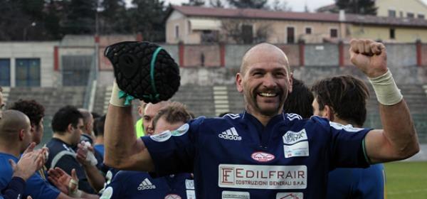 La gioia del tecnico del Gran Sasso Rugby