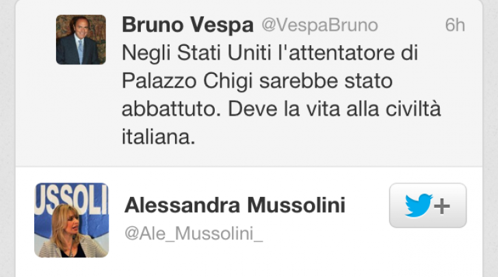 tweet Bruno Vespa