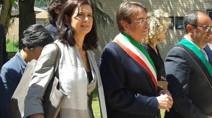 Laura Boldrini nella visita a L'Aquila - foto Barbara Bologna