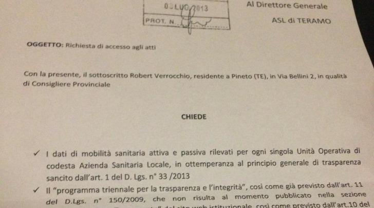 La richiesta di accesso agli atti presentata da Verrocchio