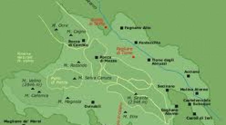 I confini del Parco Sirente-Velino