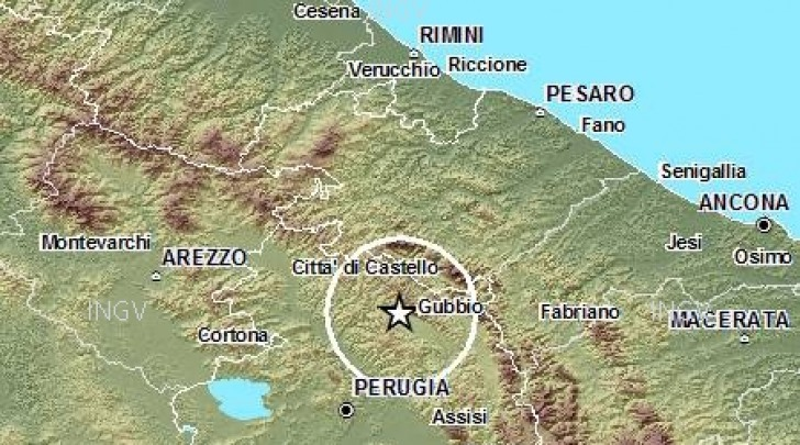 Scossa sismica distretto Gubbio
