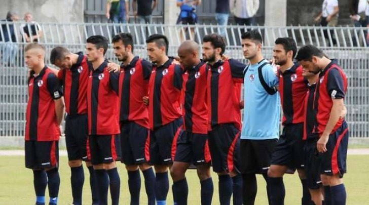 L' undici rossoblù al Del Duca (foto tratta dalla rete)