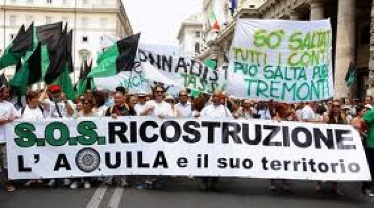 Manifestazione per ricostruzione L'Aquila a Roma-