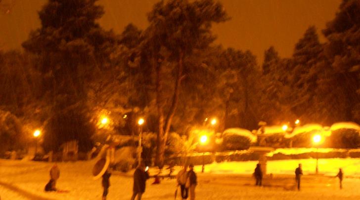 La villa comunale di Chieti ricoperta di neve