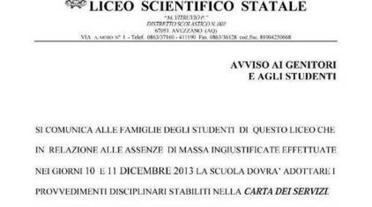 """L'avviso del Liceo Scientifico """"Pollione"""""""
