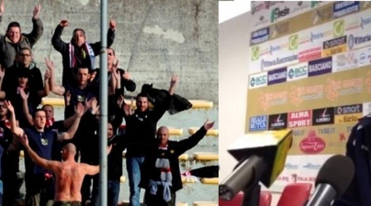 Pagliari e i tifosi rossoblù al Ceravolo